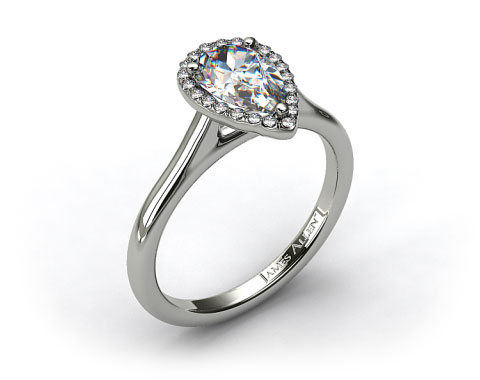 18K White Gold Pave Halo Diamond Engagement Ring (Pear Center)
