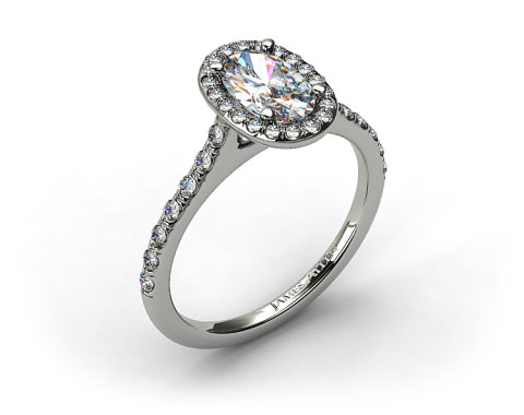 Platinum Pave Halo and Shank Diamond Engagement Ring (Oval Center)