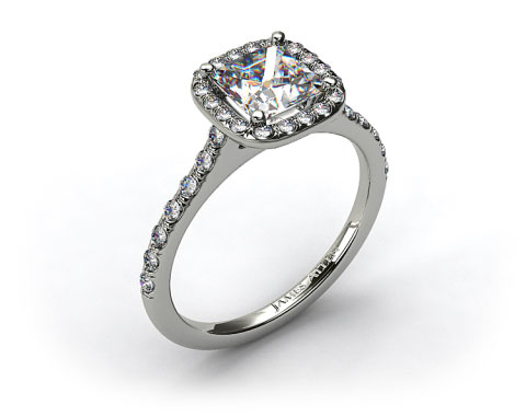 18k White Gold Pave Halo and Shank Diamond Engagement Ring (Cushion Center)