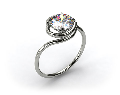 Platinum Solitaire Swirl AE133 by Danhov Designer Engagement Ring