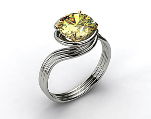 18k White Gold Three Band Solitaire Swirl AE141 by Danhov Designer Engagement Ring (Yellow Gold Head)