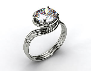14k White Gold Three Band Solitaire Swirl AE141 by Danhov Designer Engagement Ring
