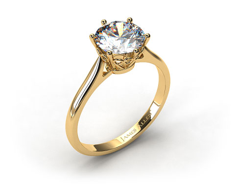 18k Yellow Gold Spring Blossom Six Prong Solitaire Engagement Ring