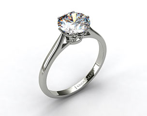 14k White Gold Six Prong Royal Crown Engagement Ring