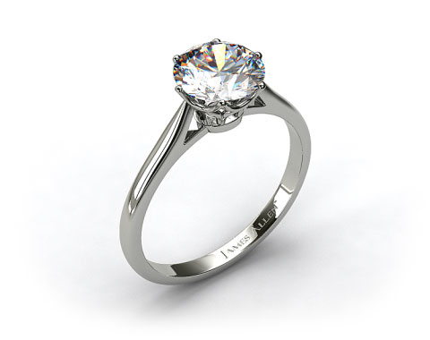 18k White Gold Six Prong Royal Crown Engagement Ring
