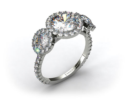 14k White Gold Three Stone Pave Halo XE106 by Danhov Designer Engagement Ring