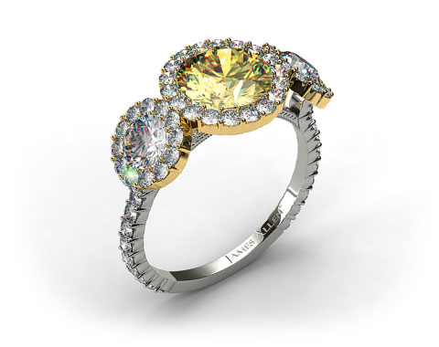 18k White Gold Three Stone Pave Halo XE106 by Danhov Designer Engagement Ring (Yellow Gold Basket)