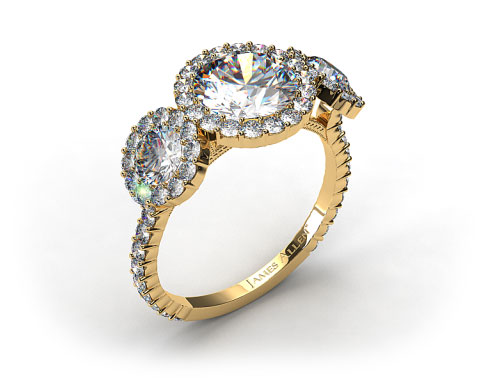 18k Yellow Gold Three Stone Pave Halo XE106 by Danhov Designer Engagement Ring