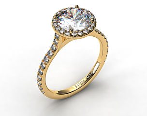 18k Yellow Gold Hand Made Pave Set Engagement Ring (Round Center)
