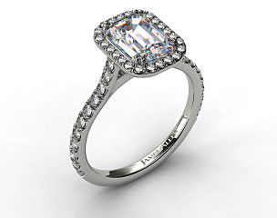 18k White Gold Pave Set Engagement Ring (Emerald Center)