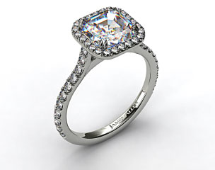 18k White Gold Pave Set Engagement Ring (Asscher Center)