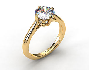 18k Yellow Gold Pave Set Crown Solitaire Engagement Ring