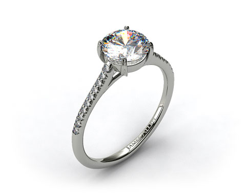 18k White Gold Pave Cathedral Claw Prong Engagement Ring
