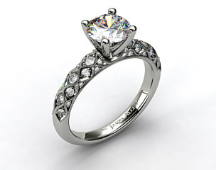 14k White Gold Pave Encrusted Engagement Ring