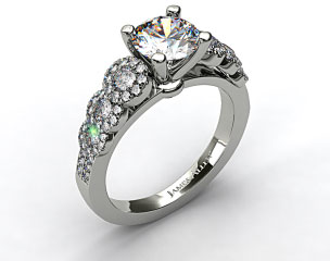 14k White Gold Pave Flower Diamond Engagement Ring