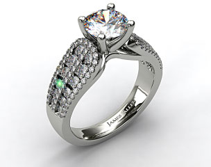 18k White Gold Double Row Graduated Pave Arch Engagement Ring