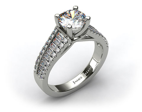 18k White Gold Graduated Baguette and Pave Engagement Ring