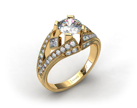 18k  Yellow Gold Geometric Inspired Diamond Engagement Ring