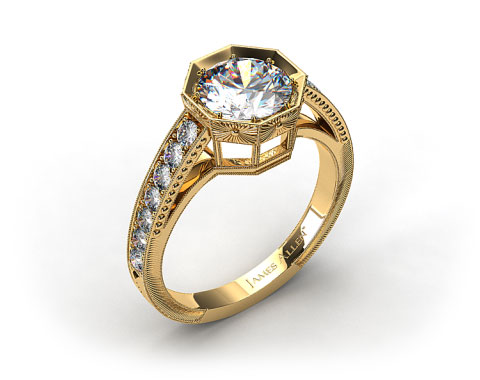 18k Yellow Gold Zinnia Inspired Geometric Engagement Ring