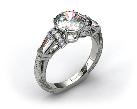 14k White Gold Baguette and Round Diamond Engagement Ring