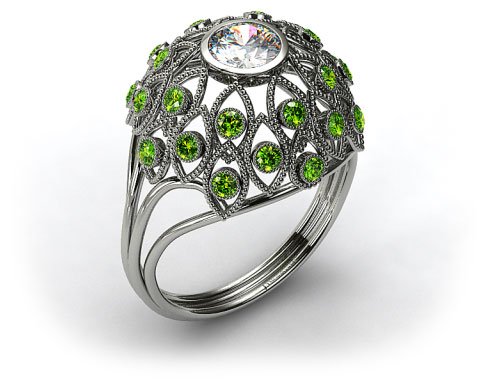 18k White Gold Emerald Firework Engagement Ring