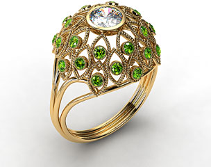 18k Yellow Gold Emerald Firework Engagement Ring