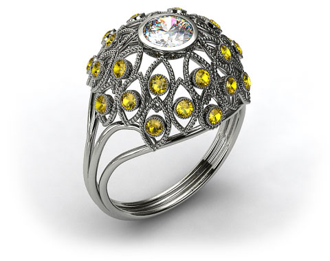 14k White Gold Yellow Sapphire Firework Engagement Ring