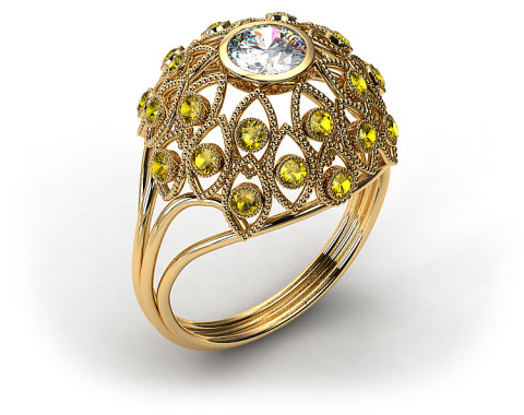 18k Yellow Gold Yellow Sapphire Firework Engagement Ring