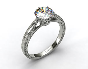 14k White Gold Beaded Ripples Diamond Engagement Ring