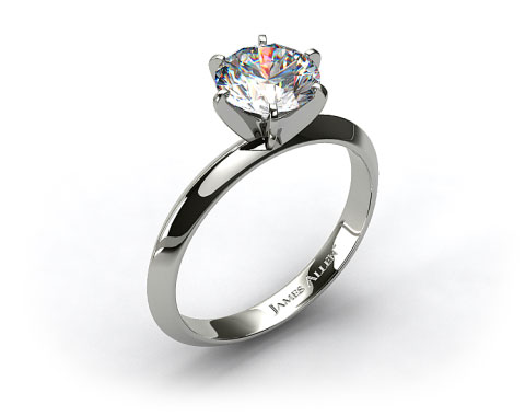 14k White Gold 2mm Knife Edge Solitaire Engagement Ring (Six Prong)