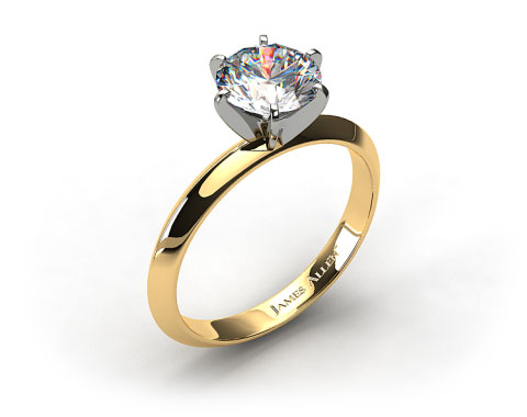 18K Yellow Gold 2mm Knife Edge Solitaire Engagement Ring (Six Prong)