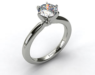 14K White Gold 2mm Comfort Fit Solitaire Engagement Ring (Six Prong)