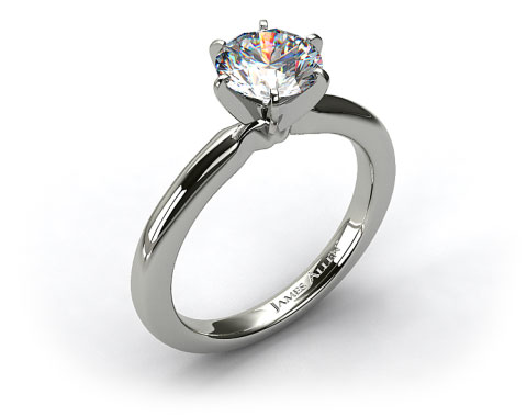 Platinum 2mm Comfort Fit Solitaire Engagement Ring (Six Prong)