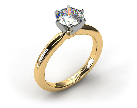 18K Yellow Gold 2mm Comfort Fit Solitaire Engagement Ring (Six Prong)