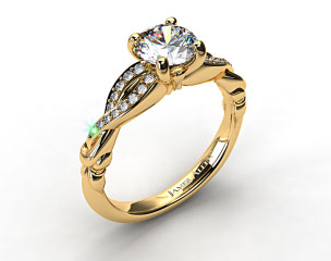 18K Yellow Gold Pave Crossover Engagement Ring