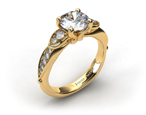 18K Yellow Gold Button and Tied Graduated Pave Engagment Ring
