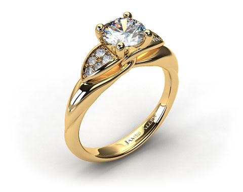 18K Yellow Gold Twisted Love Knot Engagement Ring