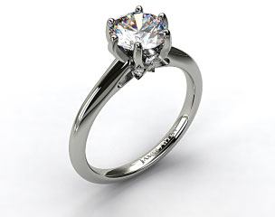 14K White Gold Diamond Accented Prong Engagement Ring