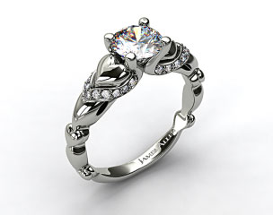 18K White Gold Heart and Pave Engagement Ring