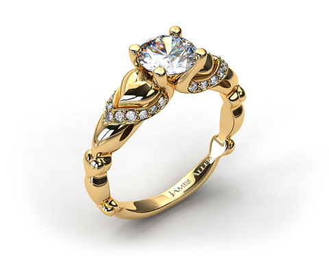 18K Yellow Gold Heart and Pave Engagement Ring