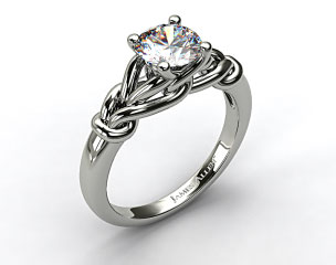 18K White Gold Diamond Love Knot Solitare