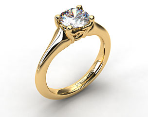 18K Yellow Gold Twisted Love Knot Solitaire Engagement Ring