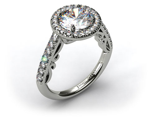 18K White Gold Pave Halo Engagement Ring with Delicate Scroll Accents