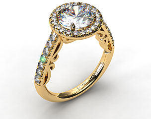 18K Yellow Gold Pave Halo Engagement Ring with Delicate Scroll Accents