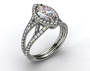 14K White Gold Split Shank Engagement Ring with Diamond Halo and Sculpted Design
