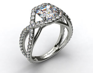 Platinum Engagment Ring with Braided Pave Overlay