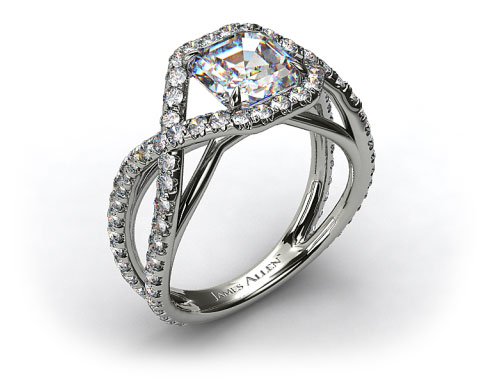 18K White Gold Engagment Ring with Braided Pave Overlay
