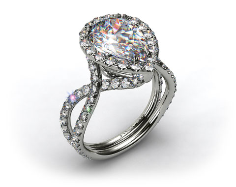 Platinum Elevated Pave Halo Engagement Ring with Diamond Encrusted Band