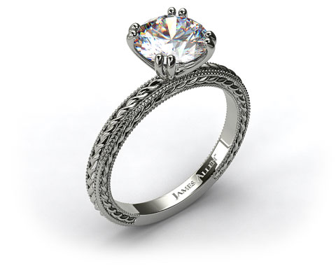 14K White Gold Etched Rope Solitaire Engagement Ring