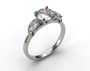14K White Gold Vintage Fluted Pear Engagement Ring